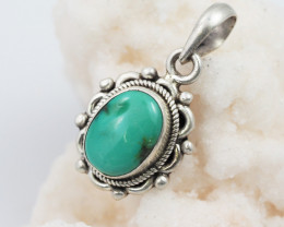 Tribal Turquoise silver pendant AM 620