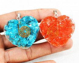Blue & Red Orgone Heart Pendant Set