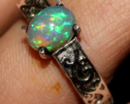 Natural Ethiopian Welo Fire Opal 925 Sterling Silver Ring Size (US 8) 89
