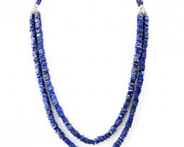 Genuine 380.00 Cts Blue Lapis Lazuli Beads Necklace