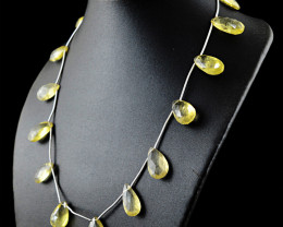 Genuine 161.00 Cts Yellow Citrine Faceted Beads Necklace