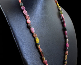 Watermelon Tourmaline Oval Shape Beads Necklace