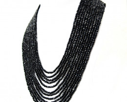 Black Spinel Faceted Round Shape Beads Necklace