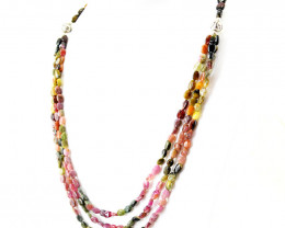 Watermelon Tourmaline Oval Beads Necklace