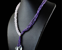 Purple Amethyst & Rose Quartz Beads Necklace