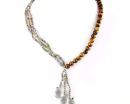 Golden Tiger Eye & Amazing Flash Labradorite Beads Necklace