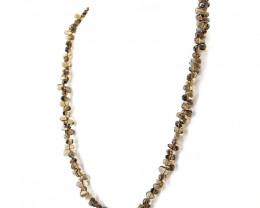 Brown Smokey Quartz Tear Drop Beads Necklace