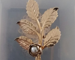 ANTIQUE / VINTAGE BROOCH ROSE BUD / PEARL PIN