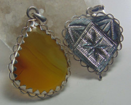 Agate pendent ~ antique stone~ fantasy silver designs 50.55cts