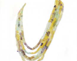 Multicolor Fluorite Beads Necklace - 5 Lines