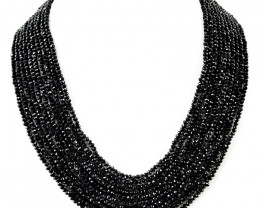 Black Spinel Round Shape Faceted Beads Necklace