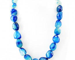 Genuine 853.50 Cts Blue Onyx Faceted Beads Necklace