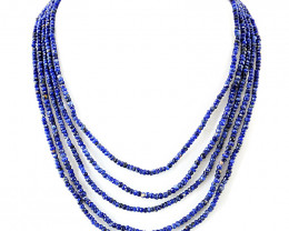 Genuine 185.00 Cts Blue Sodalite Round Faceted Beads Necklace