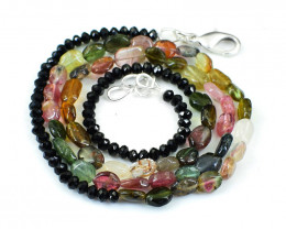 Black Spinel & Watermelon Tourmaline Beads Necklace
