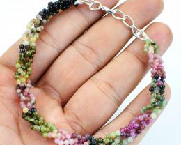 Watermelon Tourmaline Round Beads Bracelet