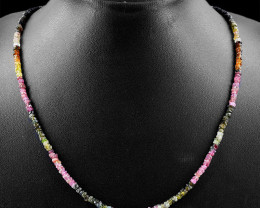 Watermelon Tourmaline & Spinel Beads Necklace