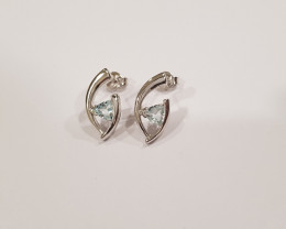 Blue topaz 925 Sterling silver earrings #33477