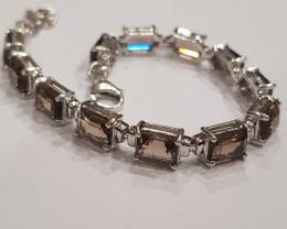 Smokey quartz 925 Sterling silver bracelet #33064