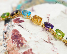 17 Assorted Gemstones Yellow Gold Bracelet -  B 4597 9900