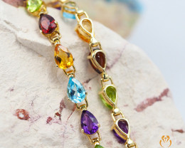 21 Assorted Gemstones Yellow Gold Bracelet - B 5925 6100