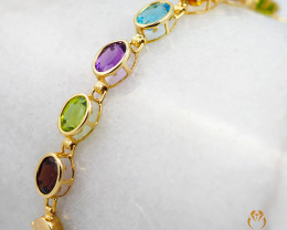 17 Assorted Gemstones Yellow Gold Bracelet - B 181 7250