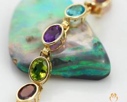 17 Assorted Gemstones Yellow Gold Bracelet - B 181 7250