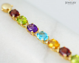 20 Assorted Gemstones Yellow Gold Bracelet - B 4596 8500