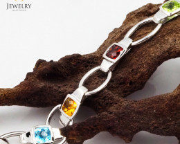 9 Assorted Gemstones White Gold Bracelet - B 10929 6350
