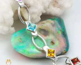 8 Assorted Gemstones White Gold Bracelet - B 10906 6150