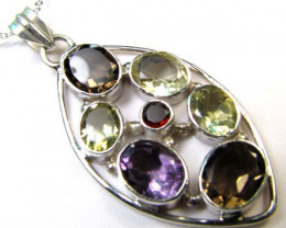 MIXED GEMSTONE SILVER PENDANT 58.55 CTS MGMG 50