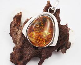 Baltic Amber Sale, Silver Pendant   , direct from Poland  AM 633