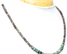 Blue Flash Labradorite & Untreated Emerald Beads Necklace