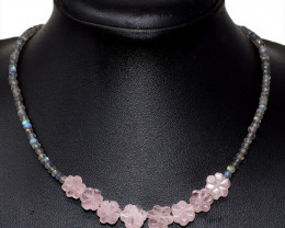Pink Rose Quartz & Labradorite Faceted Beads Necklace