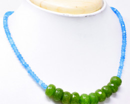 Green Garnet & Blue Apatite Faceted Beads Necklace