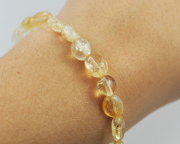 Natural Free form  Citrine Crystal Bead Bracelet  AM 641