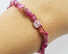 Natural Free form  Pink Tourmaline Bead Bracelet  AM 647