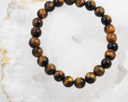 Natural 8mm  Aust Tiger Eye  Bead Bracelet  AM 651