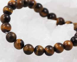 Natural 8mm  Aust Tiger Eye  Bead Bracelet  AM 652