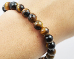 Natural 8mm  Aust Tiger Eye  Bead Bracelet  AM 654