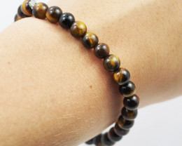 Natural 6 mm  Australian Tiger Eye  Bead Bracelet  AM 656
