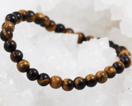 Natural 6 mm  Australian Tiger Eye  Bead Bracelet  AM 657