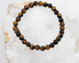 Natural 6 mm  Australian Tiger Eye  Bead Bracelet  AM 658
