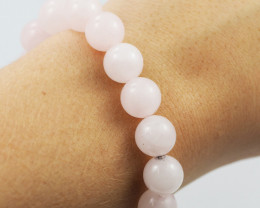 Natural 10 mm Pink Rose Quartz  Bead Bracelet  AM 659