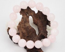 Natural 10 mm Pink Rose Quartz  Bead Bracelet  AM 661