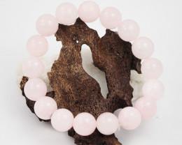Natural 10 mm Pink Rose Quartz  Bead Bracelet  AM 661