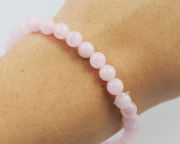 Natural 7 mm Pink Rose Quartz  Bead Bracelet  AM 663