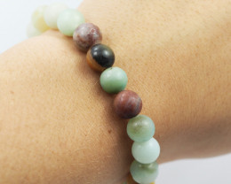 Natural   9 mm Jasper Multi tone Bead Bracelet  AM 680