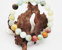 Natural   9 mm Jasper Multi tone Bead Bracelet  AM 682