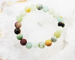 Natural   9 mm Jasper Multi tone Bead Bracelet  AM 683