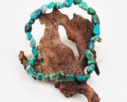 Natural   Free Form Chrysocolla Bead Bracelet  AM 685